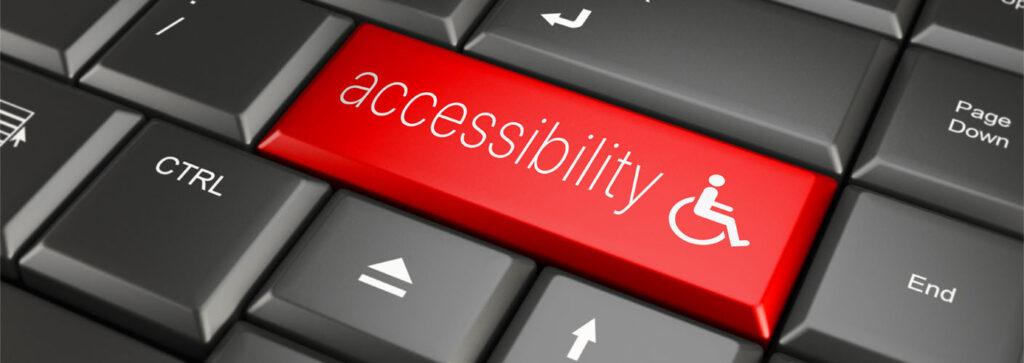 """Computertatstur mit einer roten Taste """"accessibility"""""""
